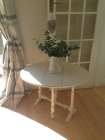 Vintage hand painted small drop leaf table
