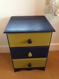 Chest of 3 drawers. Beautifully painted in dual blue & green.