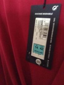 Marks and Spencer red evening dress, size 14 and unworn. Complete with labels.