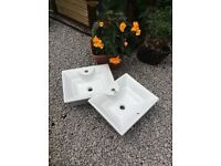 2 x self cleaning ceramic counter top basins New £30 each some hardware inc