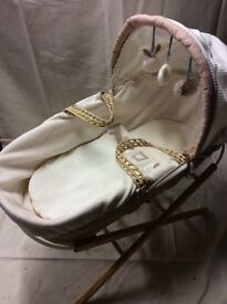 Moses basket, mattress, cover and with stand