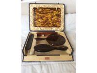 Vintage mock tortoiseshell dressing table set.
