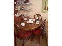 WOODEN DINING TABLE,AND FOUR CHAIRS