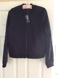 Ladies Biker style Jacket black 14 16 size quilted style brand new Lidl Esmara short coat