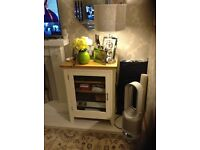 Oak unit for DVD or CD player ,solid oak unit painted in chalk paint ,cream .