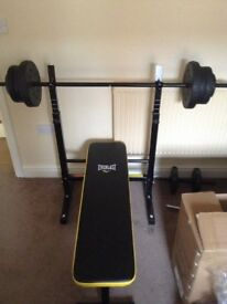 Everlast Folding Bench With 50kg Weights (Mint condition)!!!!!!