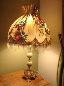 Antique effect brass lamp and lamp shade