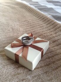 Michael kors pave intertwined baguette ring silver