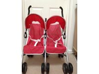 Silver Cross Dolls Double Buggy in red with white polka dots