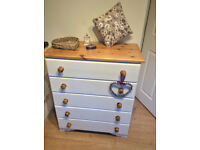 Solid Pine Farmhouse Style Chest of Five Drawers.