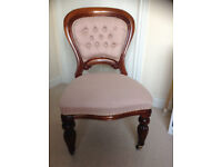 Reproduction Victorian mahogany button back occasional chair