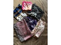 VGC Large Selection of Ladies Womens Scarves (Silk Cotton)