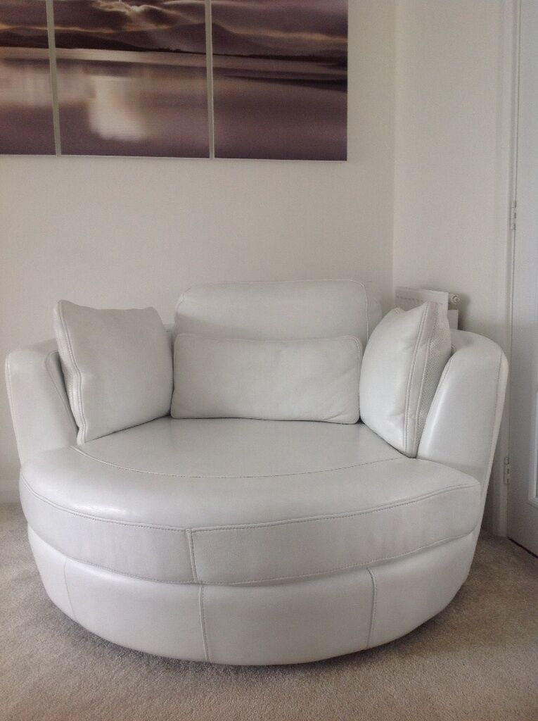 white real leather swivel cuddle chair turns 360 degrees