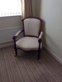 Victorian Walnut framed carved armchair