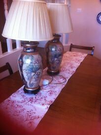 27 inch hand paited lamps with silk shades