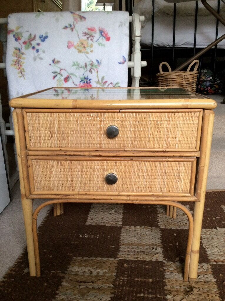 Two Bedside Tables Cane Rattan John Lewis In Radstock