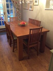 Solid Oak Dining Table and Eight Chairs