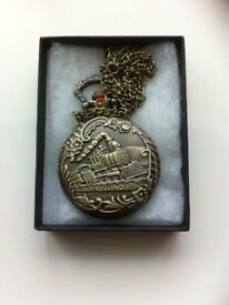 Vintage Bronze Train Pattern Pocket Watch for Men Women
