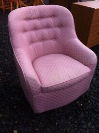 Very comfy bedroom pink upholstered button back tub chair in great condition