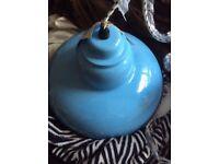 New blue enamel pendant light fitting