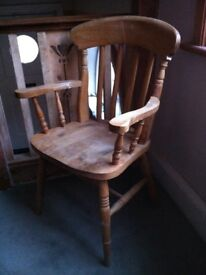 Antique Pine Carver Distressed Accent Farmhouse Arm Chair / Can Deliver
