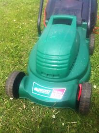 qualcast electric mower with box & patio chairs x 6 & table