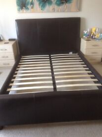 Feather & Black Genuine Leather King Size Bed