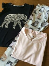 Pink & black t-shirts with rabbit and cats leggings