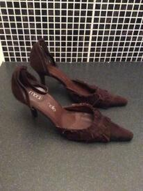 Brown suede heels. Size 6