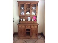 Pine dining table, 6 chairs, pine dresser and grandfather clock.