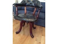 Antique mahogany & black leather chair