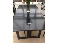 """""""Heals"""" Black Lacquered Solid Oak DIning Table and 4 Chairs - Folds lengthways to make side table"""