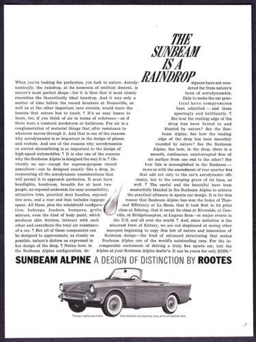 "1963 Sunbeam Alpine Convertible photo ""Aerodynamic Raindrop"" vintage print ad"