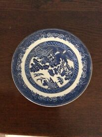 """""""Willow"""" Johnson Brothers Ironstone Plates, gravy Boat, vegetable dish and oval plate"""
