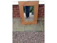 Pine framed wall mirror