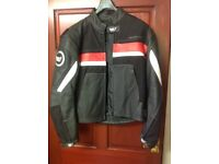 Sporty leather/textile motorbike jacket