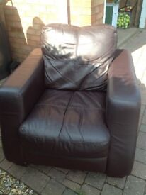 ARM CHAIR, BROWN LEATHER EFFECT