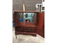 Upcycle project oak? Very heavy tv cabinet with doors and pull down compartment