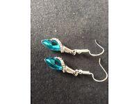 Aqua and Clear Diamantés in Silver Earrings