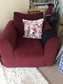 John Lewis Burgundy Loose Cover Armchair, excellent condition, very comfortable.