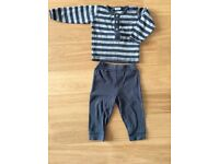 Gorgeous grey outfit, long sleeve t-shirt and leggings. Size 12 months. Scandinavian brand WHEAT.