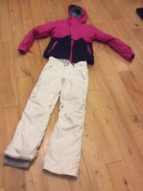 ONEILL ski jacket (navy & pink) NORTH FACE ski pants (white), Size XS / 164 EXCELLENT CONDITION