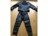 Motorcycle all in one leathers in black and used condition
