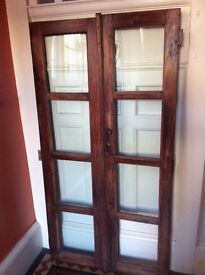 Pair of Handcrafted Antique Cupboard or Cabinet Doors for Projects Needs TLC / Can Deliver