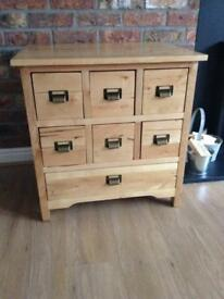 Solid wood multi drawer unit with label style handles