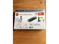 Belkin wireless adaptor brand new in box with celophane wrapping