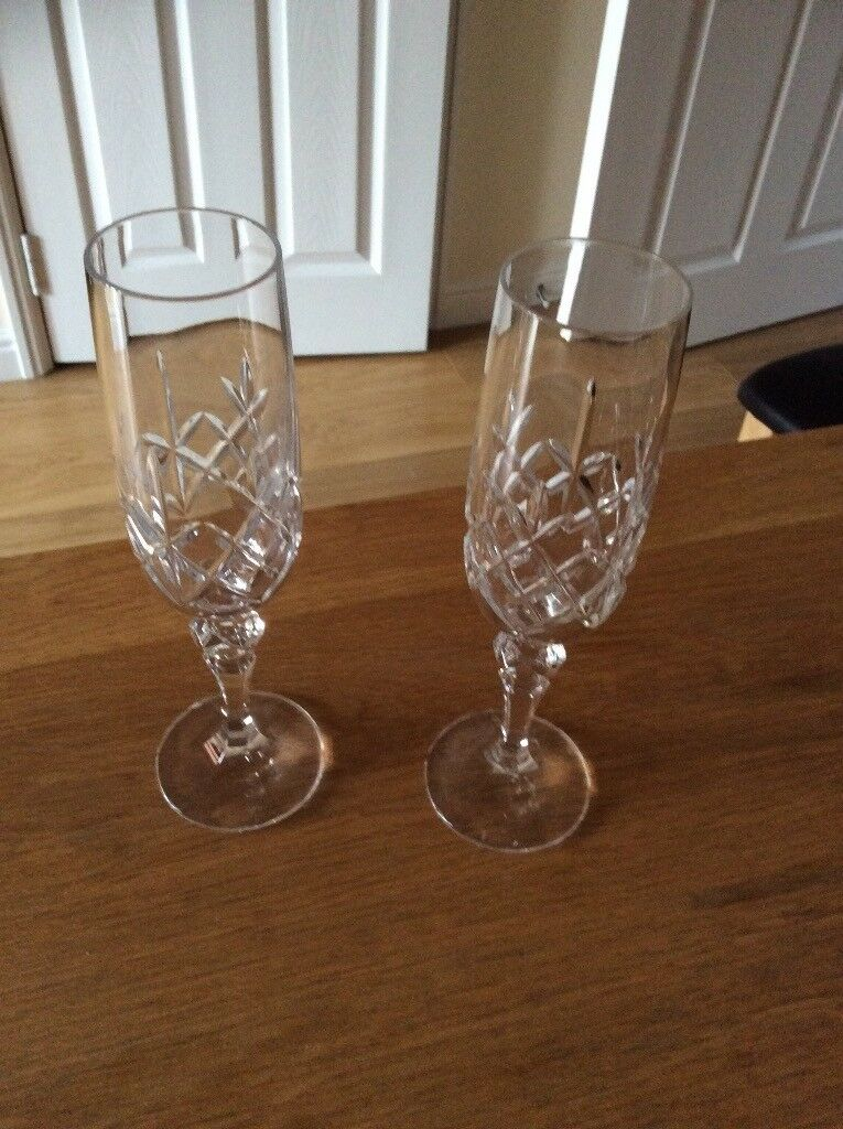 Cut Glass champagne flutes and other glasses