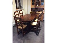 Next Branded Extending dark hard wood Dining table and six 6 chairs VGC
