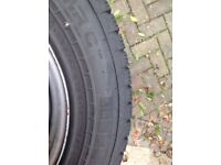 Full set of VW T5 wheels with good condition winter tyres