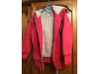Boden red fleece lined hoody aged 5-6yrs